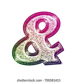 Fun stamped ink fading pink to green style ampersand or and sign symbol in a 3D illustration with a light colorful painted glitter sparkly effect isolated on a white background with clipping path.