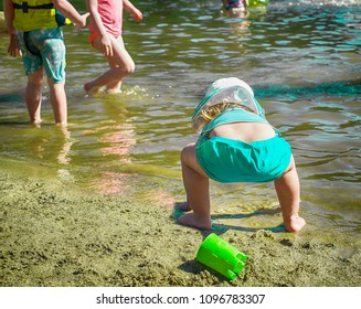 Fun summer day with kids at the beach