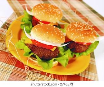 Fun texan hamburger with onion horns like a bull