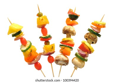 Fun way to eat healthy vegetables; kebabs with tomatoes, mushrooms, onions, zucchini, peppers