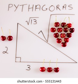 A fun way of illustrating Pythagoras' theorem by using red cherries and a diagram of a triangle on a white background