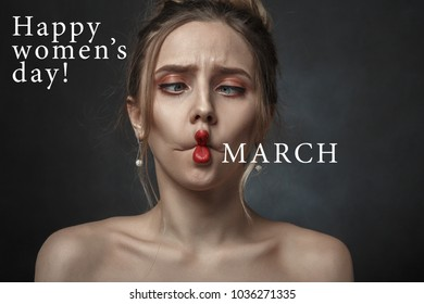 fun woman face grimacing making 8 march with lips on black background with happy women's day greetings