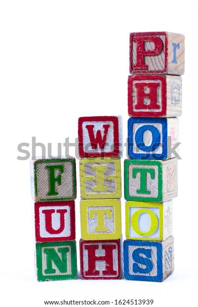 Fun Words in Vintage Child's Blocks
