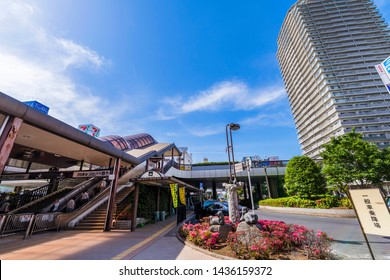 """FUNABASHI, CHIBA / JAPAN - MAY 30 2019 : Scenery in front of """"Funabashi"""" station. There are """"Tobu department store"""" and a high-rise apartment at the north entrance of the station."""