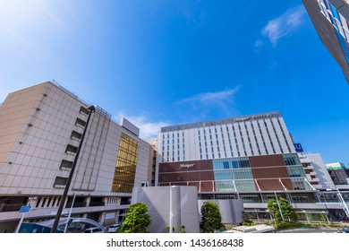 """FUNABASHI, CHIBA / JAPAN - MAY 30 2019 : Scenery in front of """"Funabashi"""" station. At the south exit of the station there are shopping centers such as """"Shapo Funabashi"""" and a Pedestrian Deck."""