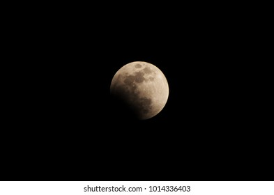 Funabashi City, Chiba Prefecture, Japan, January 31 2018: Tonight's moon is a very special full moon. Because tonight is a total lunar eclipse.