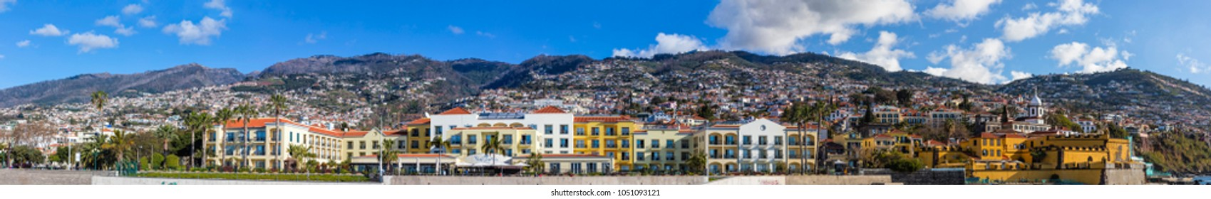 FUNCHAL, MADEIRA - FEBRUARY 14, 2018: Panoramic seafront view of Funchal, Madeira