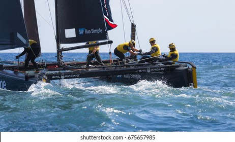 Funchal, Madeira Island - June 29, 2017: SAP Team competes in Extreme Sailing Series.