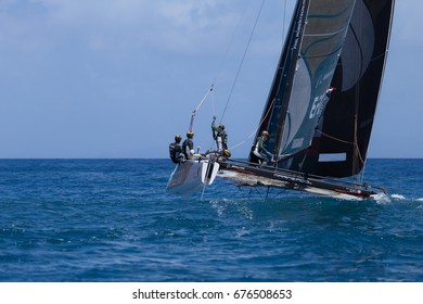 Funchal, Madeira Island - June 29, 2017: OMAN AIR Team competes in Extreme Sailing Series.