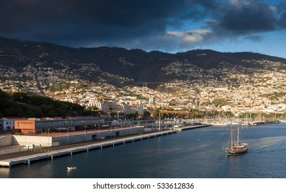 FUNCHAL, MADEIRA - NOVEMBER 2:  The Funchal waterfront on the Portuguese island of Madeira is pictured at dusk on November 2, 2016.