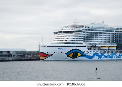 Funchal, Madeira, Portugal - 12 18 2017. Aida prima cruise ship liner, the flagship of AIDA Cruises, German cruise line, Carnival Corporation, built by Mitsubishi Shipbuilding. Aidaprima side view
