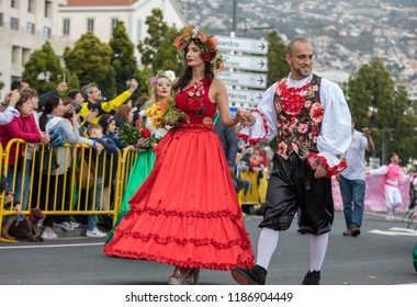 Funchal; Madeira; Portugal - April 22; 2018: Annual parade at the Madeira Flower Festival in the city of Funchal on the Island of Madeira. Portugal.