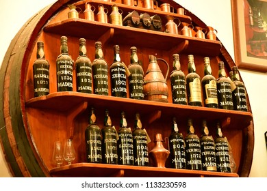 Funchal, Madeira, Portugal - february 22 2018 : old Madeira wine bottle in d Oliveiras wine cellar