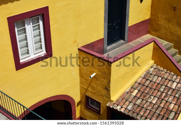 Funchal, Madeira, Portugal - June 12, 2018: View of old castle Fortaleza de São Tiago in Funchal, Madeira, Portugal