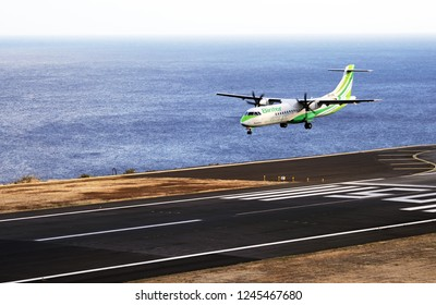 FUNCHAL, MADEIRA, PORTUGAL - SEPTEMBER 1: Binter Canarias (Naysa) ATR 72 (EC-KRY) at Funchal Madeira Airport - FNC. September 1, 2018.