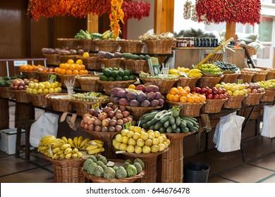 FUNCHAL, MADEIRA, PORTUGAL - SEPTEMBER 12, 2016: Fresh exotic fruits in Mercado Dos Lavradores. Funchal, Madeira, Portugal