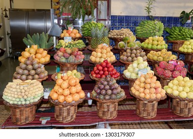 Funchal, Madeira, Portugal - September 17, 2018: Exotic tropical fruits for sale in a market 'Mercado dos Lavradores'