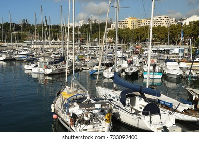 Funchal, Madeira, Portugal - September 2017: Wide angle view of boats in the city's harbour