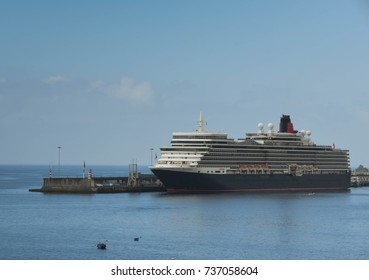 Funchal, Madeira, Portugal - September 2017: Wide angle landscape view of the cruise liner, the QE2, in port