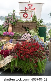 FUNCHAL, MADEIRA, PORTUGAL - SEPTEMBER 4, 2016: Decorations with flowers during Madeira Wine Festival - Historical and Ethnographic parade in Funchal on Madeira. Portugal