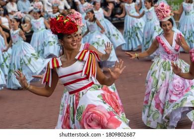 Funchal, Madeira - September 05 2020: flower festival parade dances event at Funchal during coronavirus pandemic