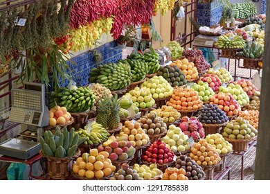 Funchal, Portugal - 17 September, 2018: Exotic fruits on market 'Mercado dos Lavradores' in Funchal on Madeira island
