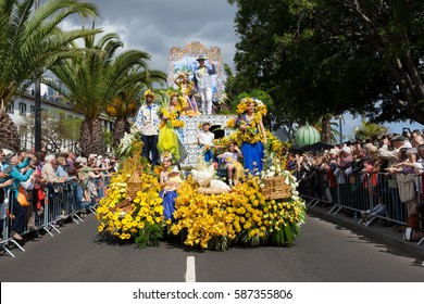 FUNCHAL, PORTUGAL - APRIL 13, 2016: Participants of the Flower Festival, Madeira's cultural tradition of street dancing and merry making in Funchal City, Madeira, Portugal.