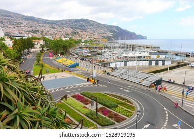 FUNCHAL, PORTUGAL – APRIL 2018: unidentified people are visiting the flower festival on april 22, 2018. The Flower Festival on Madeira is always held on the second weekend after Easter in Funchal.