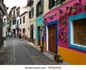 Funchal, Portugal - August 24, 2017: Street view of old Funchal, the Capital city of Madeira island