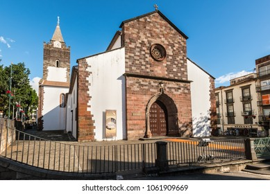 Funchal, Portugal - December 10, 2016: View of the Cathedral of Our Lady of the Assumption in Funchal, Madeira island, Portugal.