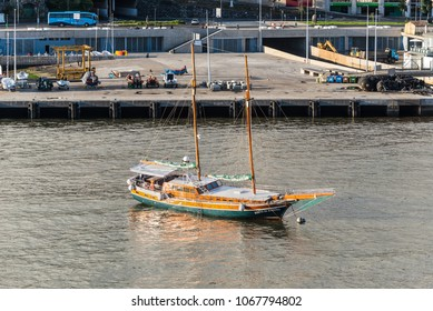 Funchal, Portugal - December 10, 2016: Bonita da Madeira motor driven sailing boat for dolphin and whale trip anchored in the bay of Funchal, Madeira Island, Portugal.