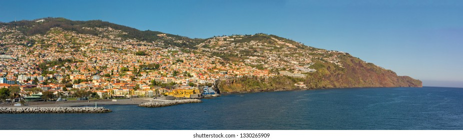 Funchal, Portugal - March 5, 2019: A panoramic view of Funchal in the Madeira Islands, Spain.
