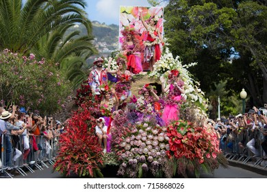 FUNCHAL, PORTUGAL - MAY 7, 2017: Participants of the Flower Festival, Madeira's cultural tradition of street dancing and merry making in Funchal City, Madeira, Portugal.