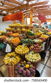 FUNCHAL, PORTUGAL - SEPTEMBER 2, 2016: Fresh exotic fruits in Mercado Dos Lavradores. Funchal, Madeira, Portugal