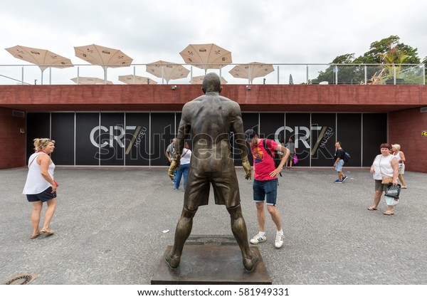 FUNCHAL, PORTUGAL - SEPTEMBER 2, 2016: The staue Christiano Ronaldo before the entry to the Museum CR 7 in Funchal on Madeira. Portugal