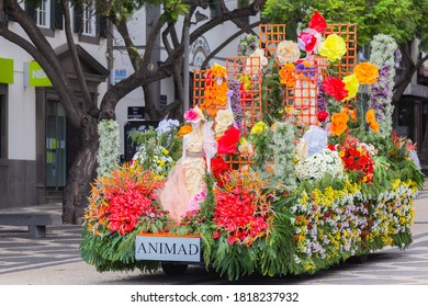 FUNCHAL, PORTUGAL - SEPTEMBER 2020: Decorated car of Madeira Flower Festival in exhibition in Funchal city, Madeira island, Portugal.