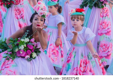 FUNCHAL, PORTUGAL - SEPTEMBER 2020: Participants of the Flower Festival of Madeira dancing in Funchal city, Madeira island, Portugal.