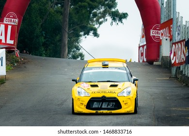 Funchal/Madeira/Portugal - august, 02,2019: Rally car competing in the fifht stage of the Madeira Wine Rally 2019 (Rali Vinho Madeira 2019)