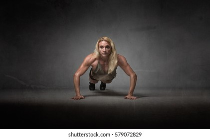 functional training for a body builder, dark background
