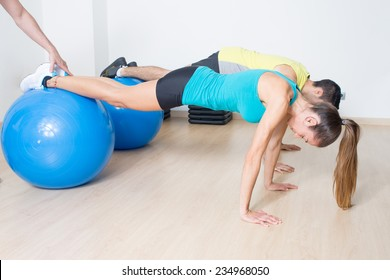 functional training with med ball with help of coach