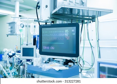 Functional vital functions (vital signs) monitor in an operating room with machines in the background, during real surgery on a patient. Life sustainment, monitoring and anesthesia concept.