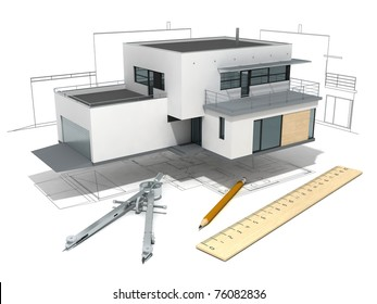 functionalist house model  with project, ruler, dividers  and pencil, isolated on  white background