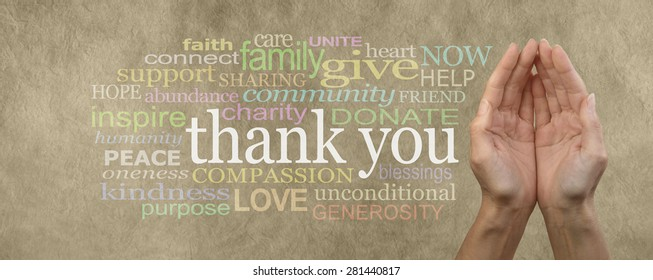 Fund Raising Campaign Website Header saying Thank You - Female cupped hands on parchment effect background with a word cloud surrounding the word Thank You for seeking charitable donations and help