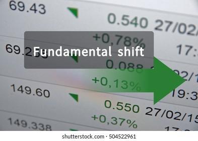 Fundamental shift written on translucent black space