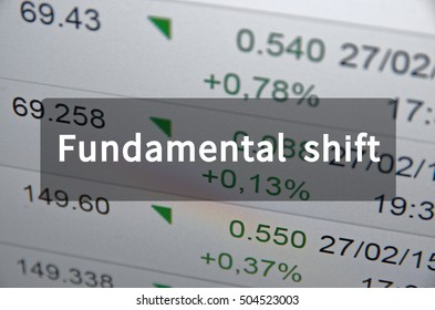 Fundamental shift written on translucent black space
