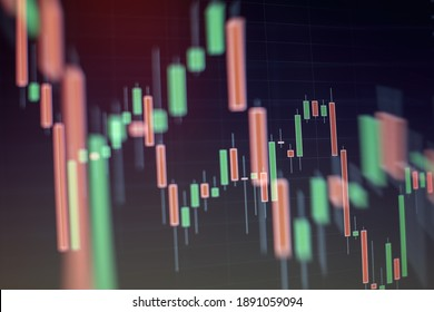Fundamental and technical analysis concept. Background with currency bars and candles