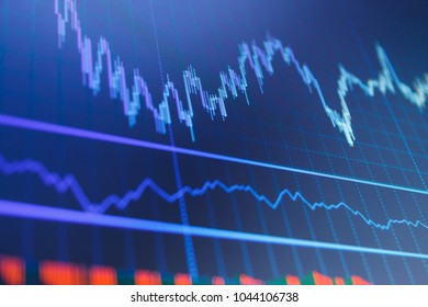 Fundamental and technical analysis concept. Blue background with stock chart. Graph of Cryptocurrency market. Business analysis diagram. Candle stick graph chart of stock market investment trading