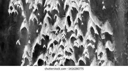 fundamentalist horde, allegory, abstract naturalism, Black and white photo, abstract photography of landscapes of the deserts of Africa from the air, aerial view, contemporary photographic art,