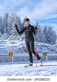 Fundata, Brasov County, Romania -January 02, 2015, Florina Ioana Cirstea, Romanian Biathlon Team training at Cheile Gradistei Biathlon Arena - Cross country skiing