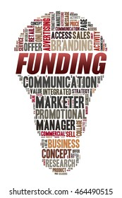 FUNDING word on word cloud concept with bulb shape